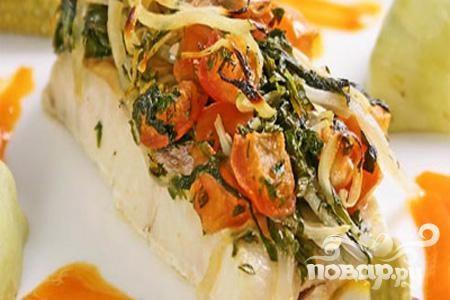 Рыба со шпинатом по-гречески
