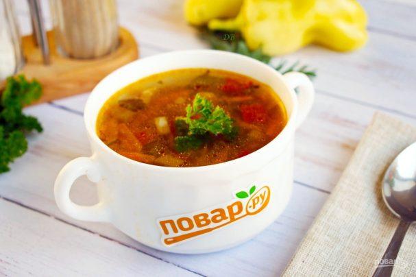 Гречневый суп с баклажанами