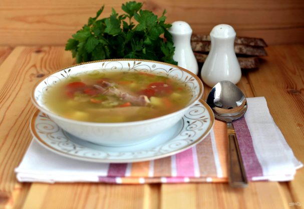Суп из индейки с грибами и булгуром
