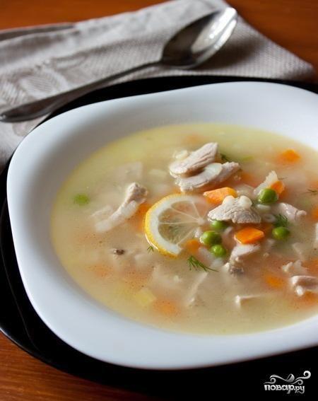 Суп из индейки лимонный