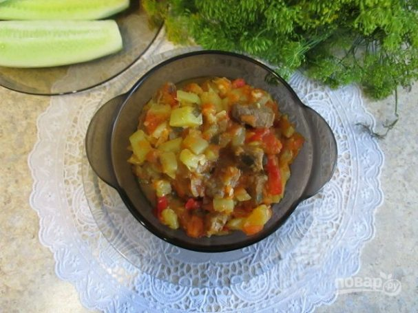 Говядина тушеная с кабачками и баклажанами на сковороде — pic 7