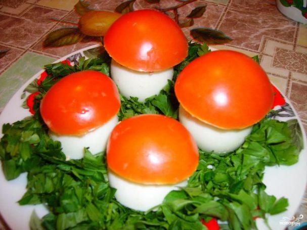 """Яйца фаршированные """"Грибная полянка"""""""