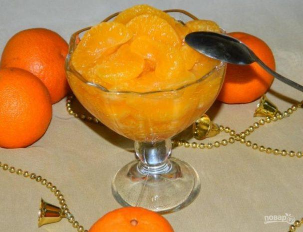 Десерт из карамельных мандаринов