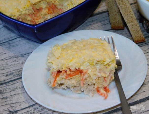 Салат с курицей, сыром и морковью по-корейски