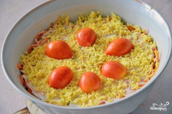 Cлоеный салат с корейской морковью