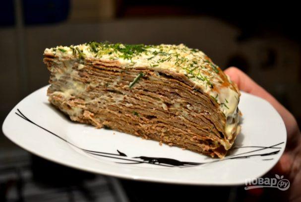 Очень простой печеночный торт