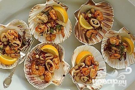 Салат скреветками на гриле, пошаговый рецепт с фото