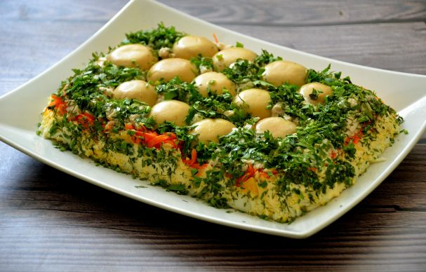 """Салат """"Грибная поляна"""" с корейской морковью"""