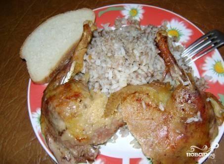 Утка в рукаве с рисом