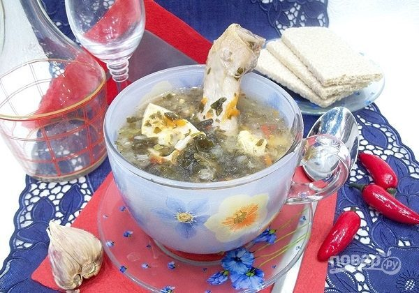 Суп из щавеля с курицей
