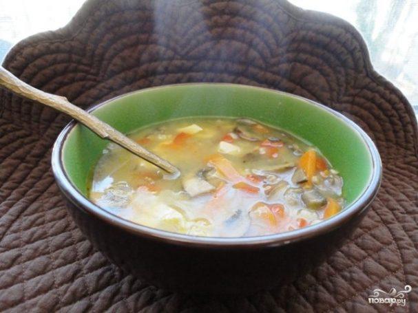 Суп с курицей и грибами