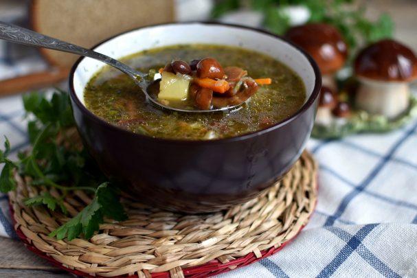 Суп с грибами и красной фасолью