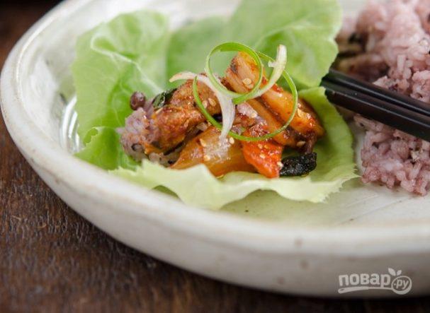 Кальмары по-корейски с овощами
