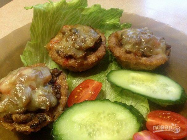 Мясные корзинки с грибами и сыром в духовке — pic 7