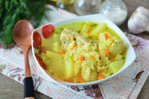 Рисовый суп с чесноком