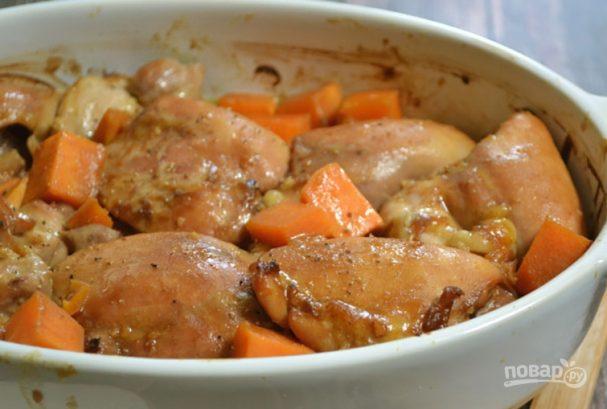Тушеная картошка с курицей в духовке