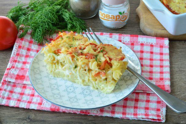 Запеканка из макарон с помидорами и сыром