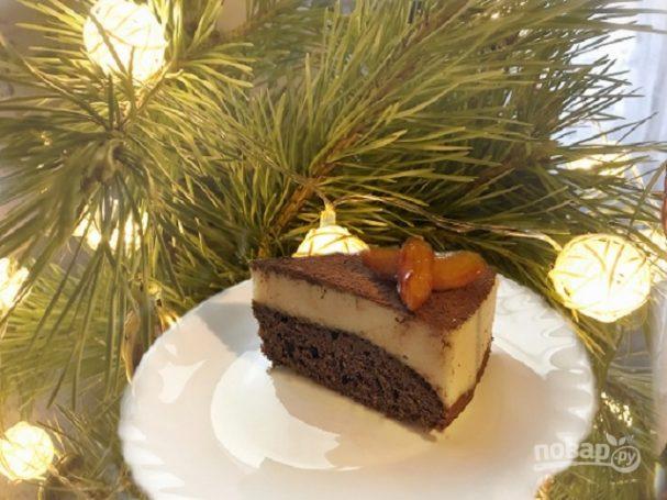 Шоколадный пирог с манно-грушевым муссом