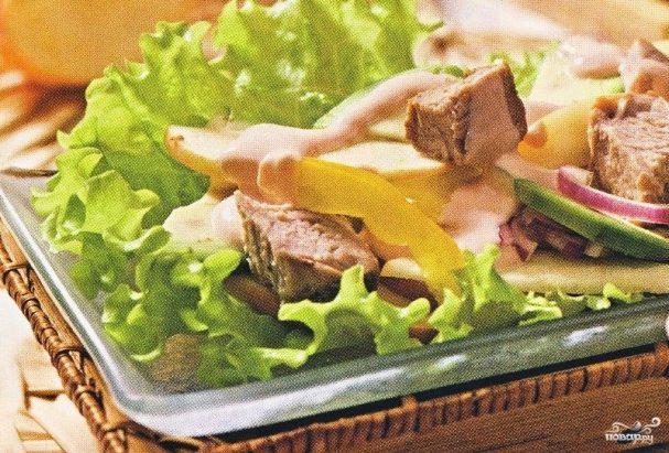 салат ромашка фото рецепт с отварной свининой