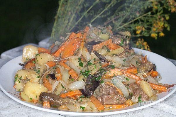 Баклажаны в казане с мясом