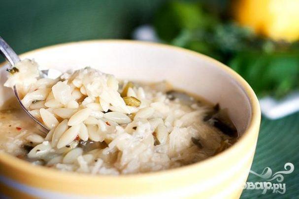 Суп со шпинатом и орзо