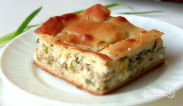 Быстрый рыбный пирог с зеленым луком