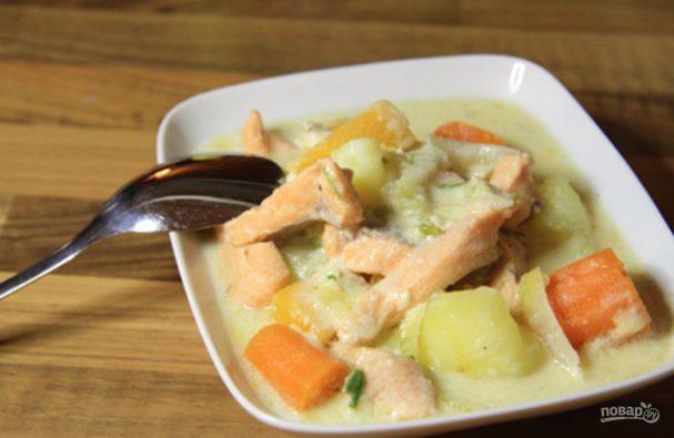 Рыбный суп с сыром плавленым