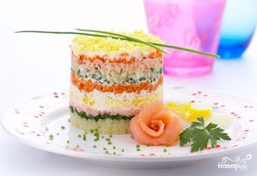 "Салат ""Мимоза"" с семгой"