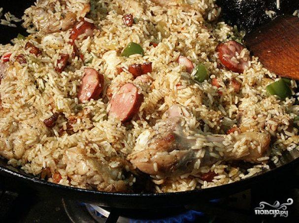 рис с корченой колбасой в духовке пошаговый рецепт