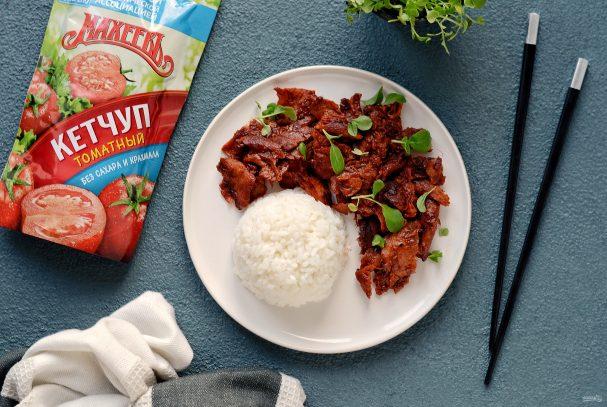 Соевое мясо по-монгольски с кетчупом