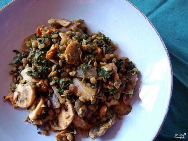 Салат из чечевицы с грибами