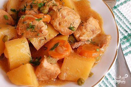 Тушеная картошка с мясом в духовке