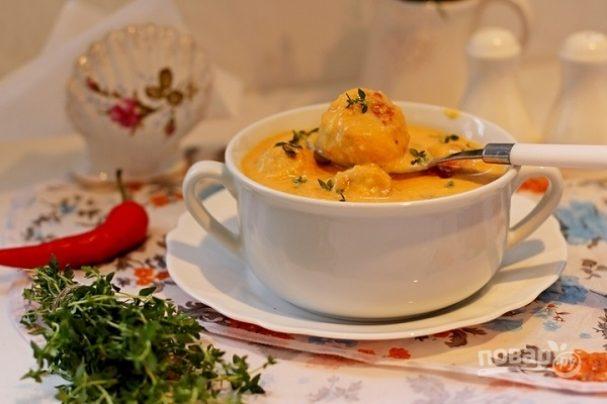 Суп-пюре из тыквы с фрикадельками