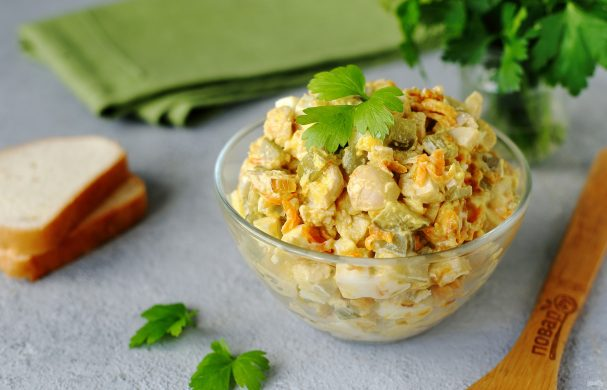 Машеровский салат с грибами