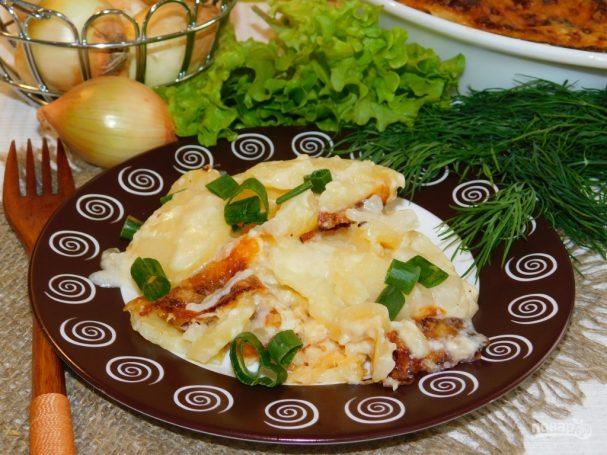 Картофельно-сливочная запеканка с луком