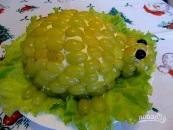 """Салат """"Черепаха"""" с виноградом"""
