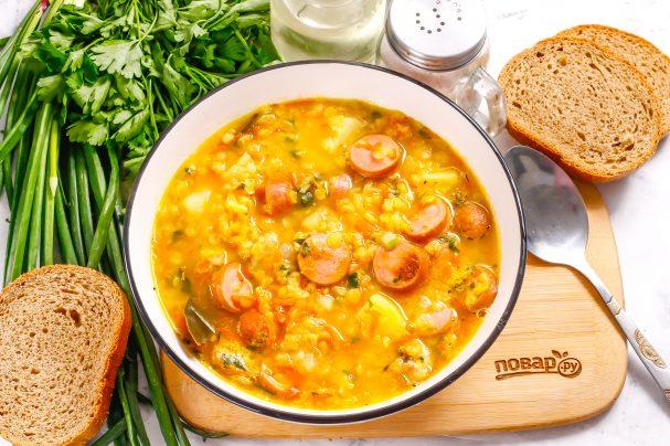 Суп с чечевицей и сосисками