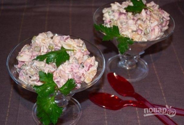 Зимний салат с курицей