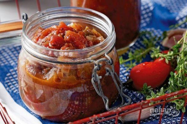 Салат на зиму из баклажанов и помидоров