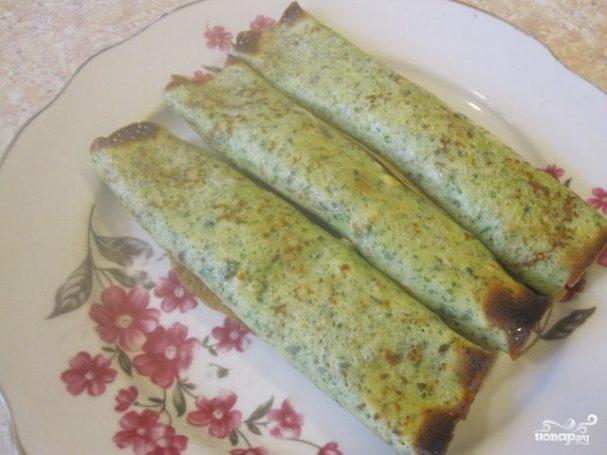 Блинчики, фаршированные ветчиной и сыром