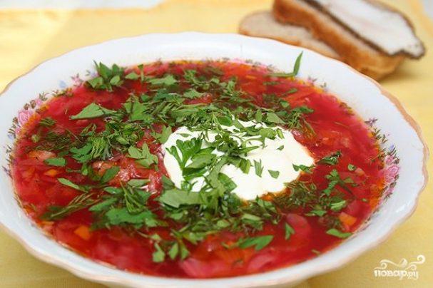 украинский красный борщ с салом рецепт