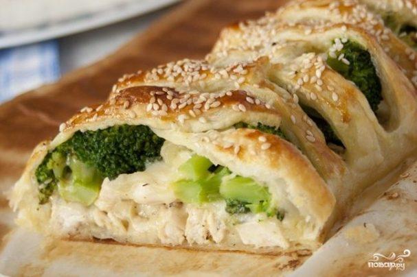 Cлоеный пирог с курицей и брокколи - пошаговый рецепт с фото на Повар.ру