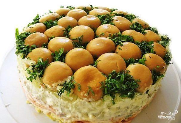 """Салат """"Зеленая поляна"""" с грибами"""