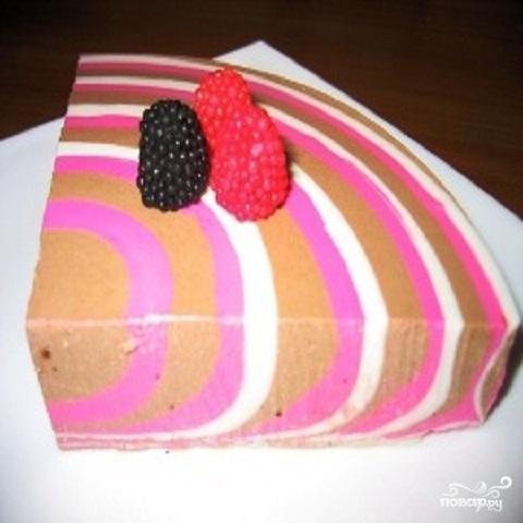 Полосатый творожный десерт