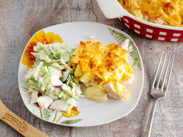 Слоеная картошка с курицей