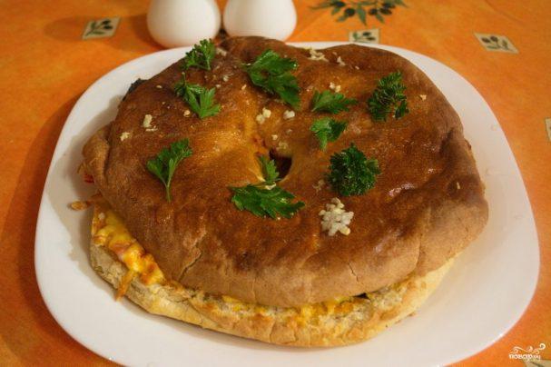 Запеченный лааваш с сыром и зеленью