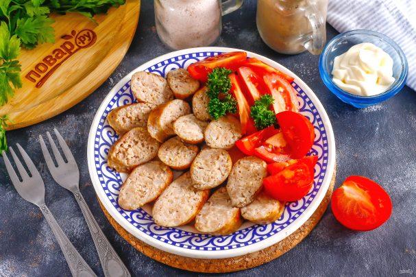 Куриная колбаса с салом
