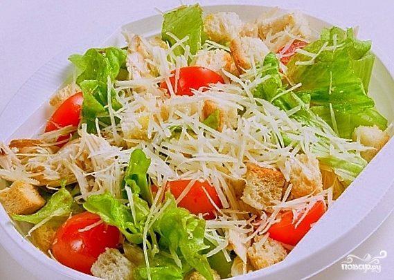 рецепты салата цезарь с варёной курицей