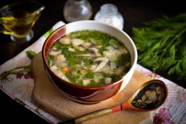 Грибной холодный суп на воде