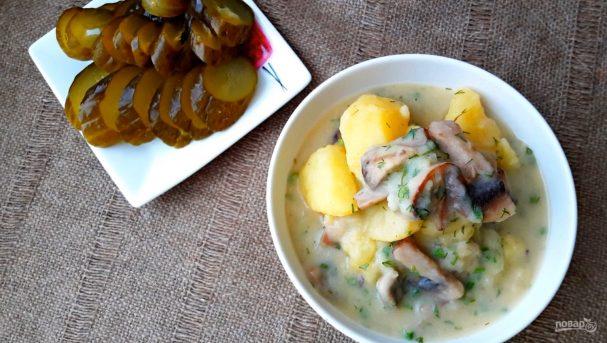 Картофель, тушенный в сметанном соусе с грибами